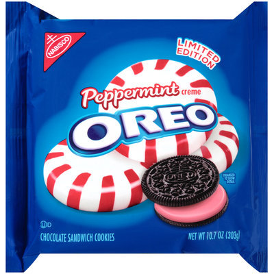 Nabisco Oreo Sandwich Cookies Peppermint Creme Chocolate