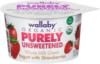 Wallaby® Organic Purely Unsweetened™ Whole Milk Greek Yogurt with Strawberries 5.3 oz. Cup