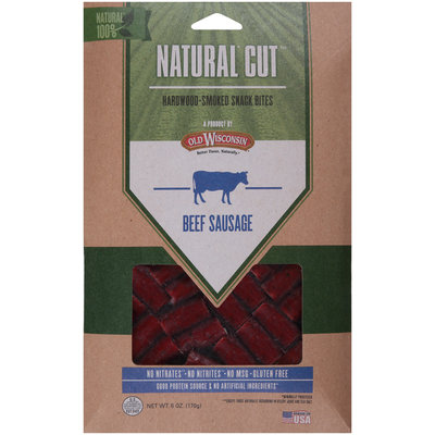 Old Wisconsin® Natural Cut™ Beef Sausage Hardwood-Smoked Snack Bites 6 oz. Pack