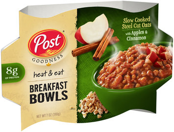Post® Goodness Heat & Eat Slow Cooked Steel Cut Oats with Apples & Cinnamon Breakfast Bowls 7 oz. Bowl