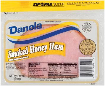 Danola Smoked Thin Sliced Honey Ham 12 Oz Zip Pak