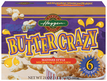 Haggen Butter Crazy Matinee Style Microwave 6 Ct Popcorn 21 Oz Box