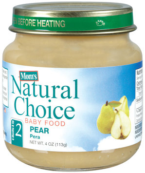 Mom's Natural Choice Baby Food Pear 4 oz Jar