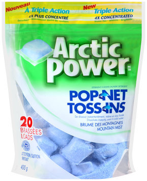 Arctic Power™ Toss-Ins Triple Action Mountain Mist Laundry Detergent 400g Stand-Up Bag