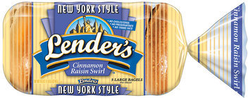 Lender's Frozen New York Style Cinnamon Raisin 5 Ct Bagels 16.5 Oz Bag