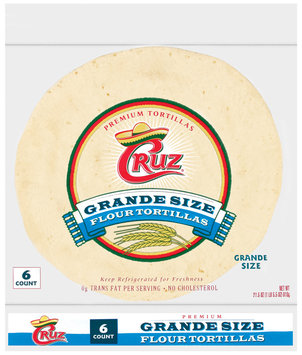 Cruz Grande Size Flour 6 Ct Tortillas 21.5 Oz Bag