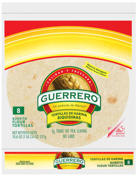 Guerrero Flour Burrito 8 Ct Tortillas 18.6 Oz Bag