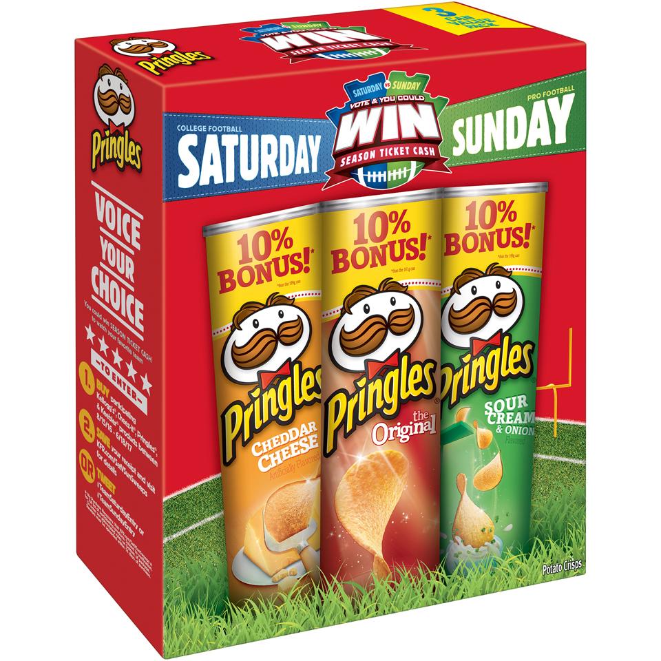 Pringles® Cheddar Cheese Artificially Flavored/The Original/Sour Cream & Onion Flavored Potato Crisps