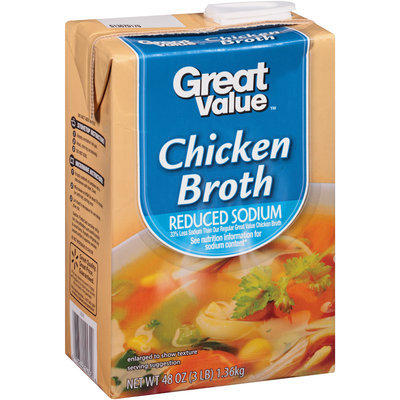Great Value™ Reduced Sodium Chicken Broth 48 oz. Aseptic Carton