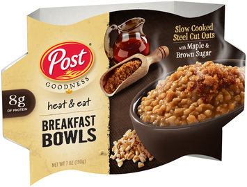 Post® Goodness Heat & Eat Slow Cooked Steel Cut Oats with Maple & Brown Sugar Breakfast Bowls 7 oz. Bowl