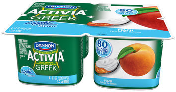 Activia Greek Light Yogurt Peach 5.3 Oz 4 Pk Cups