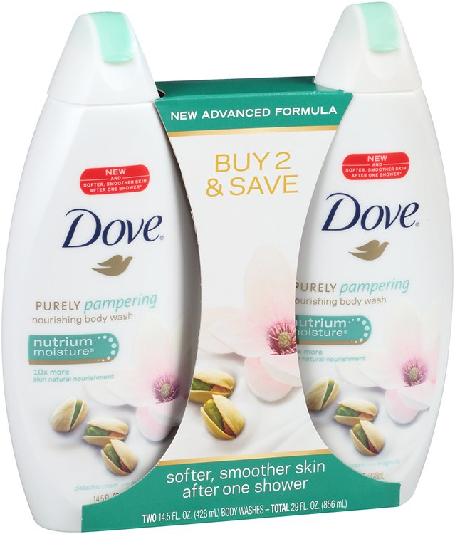 Dove® Purely Pampering Pistachio Cream with Magnolia Nourishing Body Wash 2-14.5 fl. oz. Bottles