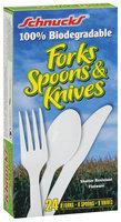 Schnucks 100% Biodegradable Forks Spoons & Knives Flatware 24 Ct Box