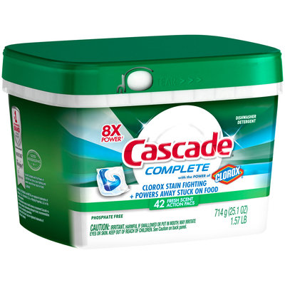 Cascade® Complete™ ActionPacs™ With The Power Of Clorox® Dishwasher Detergent Fresh Scent
