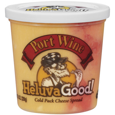 HELUVA GOOD Port Wine Cold Pack Cheese Spread 8 OZ PLASTIC TUB