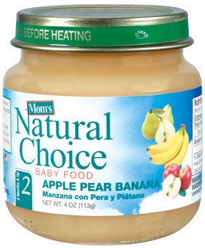 Mom's Natural Choice Baby Food Apple Pear Banana 4 oz Jar