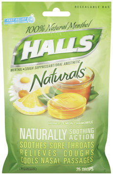 Halls® Naturals® Honey-Lemon Chamomile Cough Suppressant/Oral Anesthetic Menthol Drops 25 ct