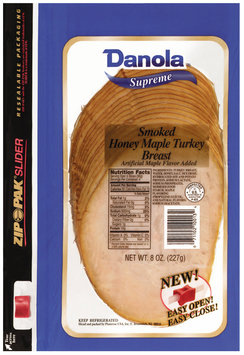 Danola Supreme Smoked Sliced Turkey Honey Maple 8 Oz Zip Pak