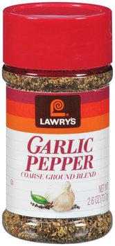 Spice & Seasoning Garlic Pepper Coarse Ground Blend Lawry's Seasoning 2.6 Oz Shaker