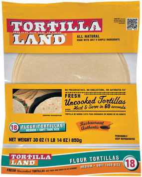 Tortilla Land® Medium Soft Taco Size Flour Tortillas 18 ct Bag