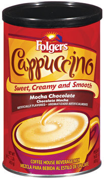 Folgers Mocha Chocolate Beverage Mix Cappuccino 16 Oz Canister