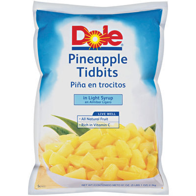 Dole Tidbits In Light Syrup Pineapple 81 Oz Pouch
