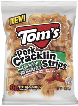 TOM'S Pork Mildly Seasoned With Red Pepper Cracklin Strips 4 OZ BAG