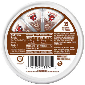 The Laughing Cow® Creamy Spicy Pepper Jack Cheese Wedges 8-.75 oz. Wheel
