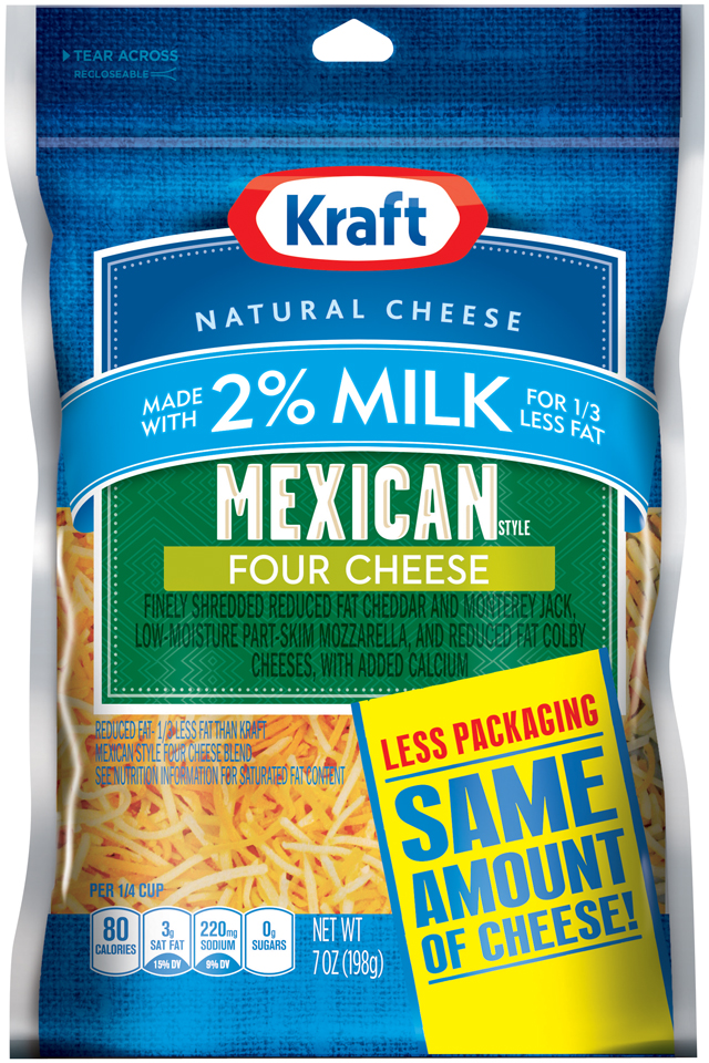 Kraft Natural Cheese Mexican Style Four Cheese W/2% Milk Shredded Cheese
