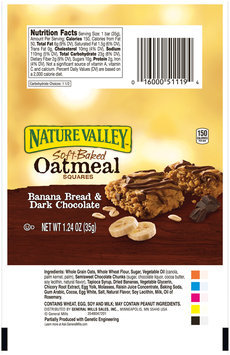 Nature Valley™ Banana Bread & Dark Chocolate Soft-Baked Oatmeal Squares 1.24 oz. Pack