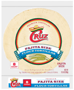 Cruz Flour Fajita Size 8 Ct Tortillas 12.5 Oz Bag