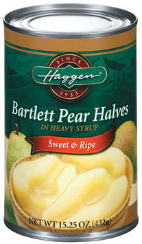 Haggen Bartlett Halves In Heavy Syrup Pears 15.25 Oz Can