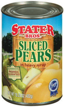Stater Bros. In Heavy Syrup Sliced Pears 15.25 Oz Can