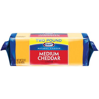 Kraft Natural Cheese Cheddar Medium Chunk Cheese 2 Lb Brick