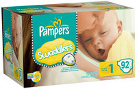 Pampers Swaddlers Big Pack Size 1 Diapers 92 ct Box
