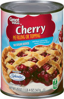 Great Value™ Cherry No Sugar Added Pie Filling or Topping 20 oz. Can