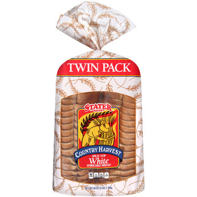 Stater Bros® Country Harvest Split Top White Enriched Bread Twin Pack 3 lb. Bag