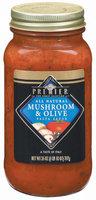 Haggen Premier Mushroom & Olive All Natural Pasta Sauce 26 Oz Jar