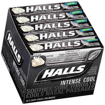 Halls Intense Cool Menthol Oral Anesthetic Drops 20-9 ct Packs