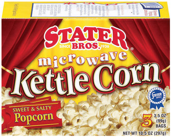 Stater Bros. Kettle Corn 3 Ct Microwave Popcorn 10.5 Oz Box