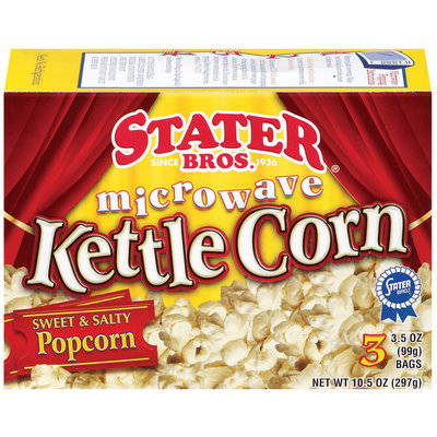 Stater Bros. Kettle Corn 3 Ct Microwave Popcorn 10.5 Oz Box