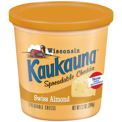 Kaukauna Swiss Almond  Spreadable Cheese 7.2 Oz Tub