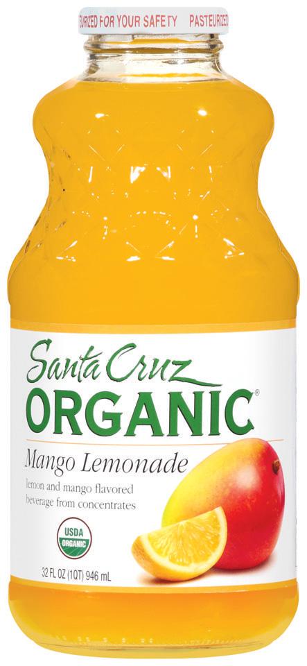 Santa Cruz Organic Mango Lemonade Beverage 32 Oz Glass Bottle