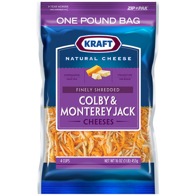 Kraft Finely Shredded Colby & Monterey Jack Cheeses 16 oz. ZIP-PAK®