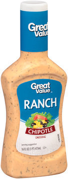 Great Value™ Chipotle Ranch Dressing 16 fl. oz. Plastic Bottle.