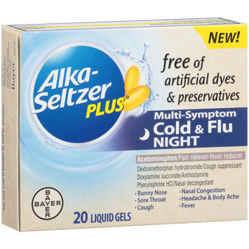 Alka-Seltzer Plus® Night Cold & Flu Multi-Symptom Relief Liquid Gels 20 ct Box