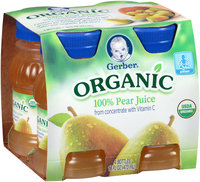 Gerber® Organic 100% Pear Juice 4-4 fl. oz. Bottles