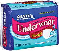 Stater Bros. Overnight Maximum Protection Extra Large Disposable Underwear 12 Ct Package