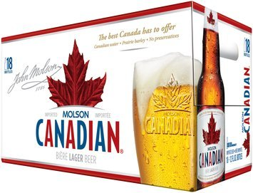 Molson Canadian 12 Oz Beer 18 Pk Bottles