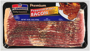 Plumrose® Premium Hardwood Smoked Peppered Maple Bacon 16 oz. Package